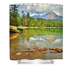 Shower Curtain featuring the photograph A Gentle Light At Lake Annette by Tara Turner