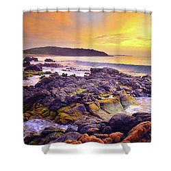 Shower Curtain featuring the photograph A Gentle Wave At Sunset by Tara Turner