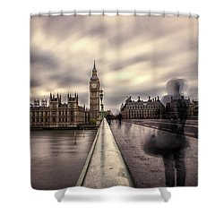 A Ghostly Figure Shower Curtain by Martin Newman