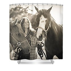 Shower Curtain featuring the photograph A Girl And Horses In The Sun Sepia by Kelly Hazel