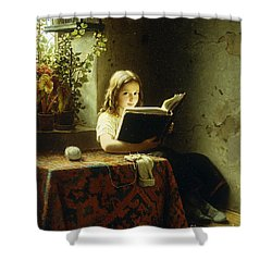 A Girl Reading Shower Curtain