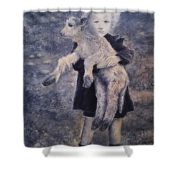 A Girl With A Lamb Shower Curtain