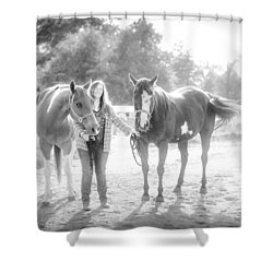 Shower Curtain featuring the photograph A Girl With Horses by Kelly Hazel