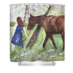 Shower Curtain featuring the painting A Girl's Best Friend by Lucia Grilletto