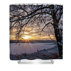 A Glenmore Sunset Shower Curtain by Brad Allen Fine Art