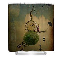A Glitch In Time Shower Curtain