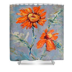 Shower Curtain featuring the painting A Glow by Mary Schiros