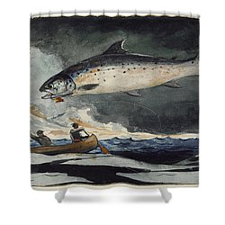 Shower Curtain featuring the painting A Good Pool. Saguenay River by Winslow Homer