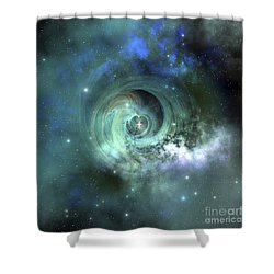 Shower Curtain featuring the digital art A Gorgeous Nebula In Outer Space by Corey Ford