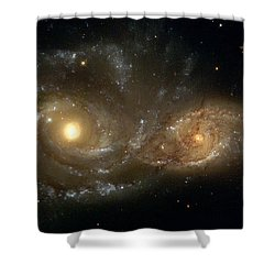 A Grazing Encounter Between Two Spiral Galaxies Shower Curtain