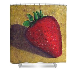 A Great Big Strawberry Shower Curtain by Helen Eaton