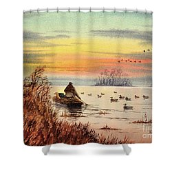A Great Day For Duck Hunting Shower Curtain by Bill Holkham