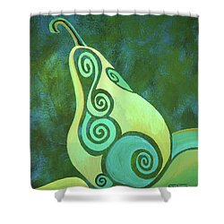 A Groovy Little Pear Shower Curtain