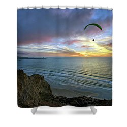 A Hang Glider And A Sunset Shower Curtain