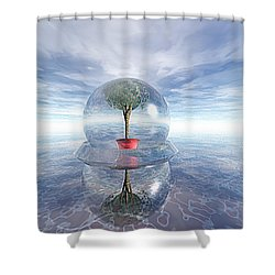 A Healing Environment Shower Curtain by Oscar Basurto Carbonell