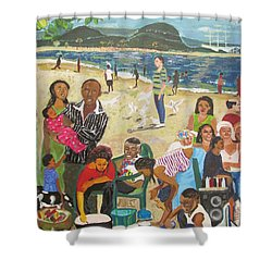 Shower Curtain featuring the painting A Heavenly Day - Lumley Beach - Sierra Leone by Mudiama Kammoh