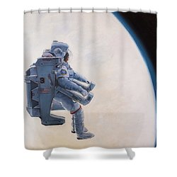 A Heck Of A Big Leap Shower Curtain by Simon Kregar