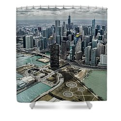 A Helicopter View Of Chicago's Lakefront Shower Curtain