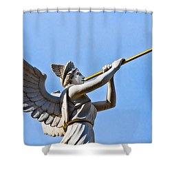 A Herald Sounds Off Shower Curtain by Christopher Holmes