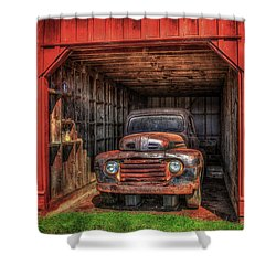 A Hiding Place 1949 Ford Pickup Truck Shower Curtain by Reid Callaway