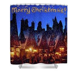 A Hogsmeade Christmas Shower Curtain