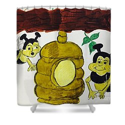 A Honey And The Bees Shower Curtain