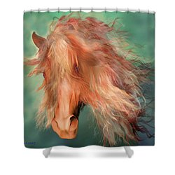 Shower Curtain featuring the painting A Horse Called Copper by Valerie Anne Kelly