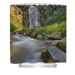 A Hot Sunny Day At Upper Bridal Veil Falls Shower Curtain by David Gn