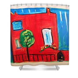 Shower Curtain featuring the painting A House With A Smile To Give by Mary Carol Williams