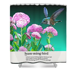 A Hummingbird Visits Shower Curtain