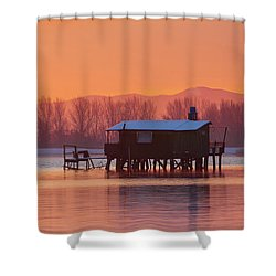 A Hut On The Water Shower Curtain