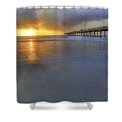 A Jacksonville Beach Sunrise - Florida - Ocean - Pier  Shower Curtain by Jason Politte
