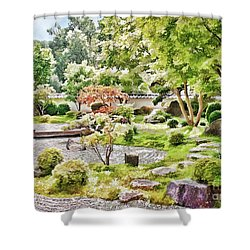 A Japanese Zen Garden Shower Curtain