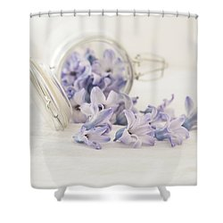 Shower Curtain featuring the photograph A Jar Of Purple Sweetness by Kim Hojnacki