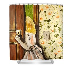 Shower Curtain featuring the painting A Journey Begins by Maria Langgle