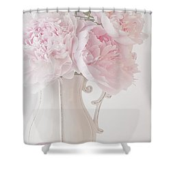 A Jug Of Soft Pink Peonies Shower Curtain