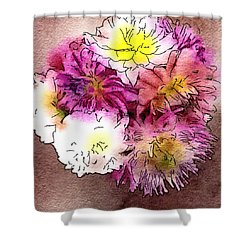 Shower Curtain featuring the photograph A Jug Of Summer Dahlias 2 by Ronda Broatch