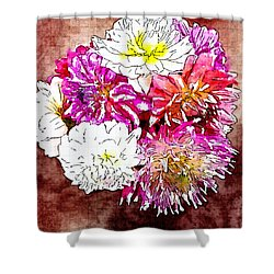 A Jug Of Summer Dahlias 3 Shower Curtain
