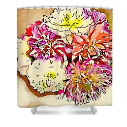 A Jug Of Summer Dahlias Shower Curtain