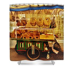 A Kaake Street Vendor In Beirut Shower Curtain by Funkpix Photo Hunter