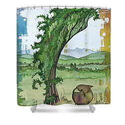 A Kale Leaf And A Little Bird Shower Curtain by Carolyn Doe