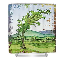 A Kale Leaf Visits The Country Shower Curtain by Carolyn Doe