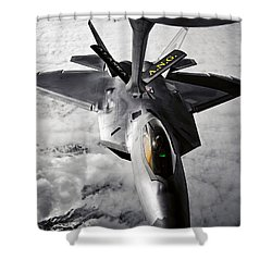 A Kc-135 Stratotanker Refuels A F-22 Shower Curtain by Stocktrek Images