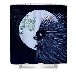 Shower Curtain featuring the painting A Knight In The Woods by Carolyn Cable