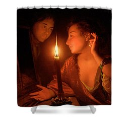 A Lady Admiring An Earring By Candlelight Shower Curtain by Godfried Schalcken
