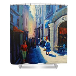 A Lady From Cajamarca In The City, Peru Impression Shower Curtain