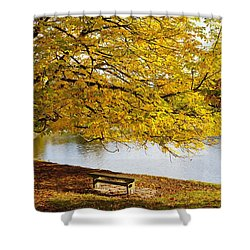 A Large Tree And Bench Along The Water Shower Curtain by John Short