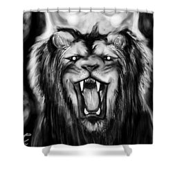 A Lion's Royalty B/w Shower Curtain