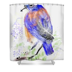 A Little Bird In Blue Shower Curtain