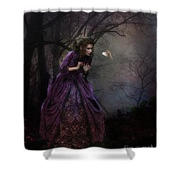 Shower Curtain featuring the digital art A Little Bird Told Me by Shanina Conway